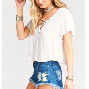 Show Me Your MuMu NWT White Oasis Lace Up Top